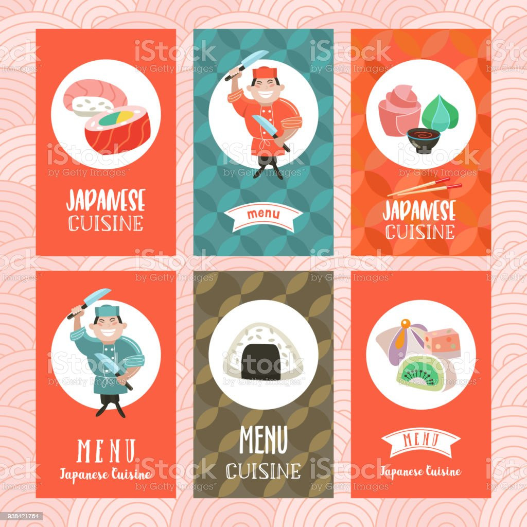 Japanese Cuisine A Set Of Templates Of The Menu Of A Japanese Restaurant Traditional Japanese Dish Vector Illustration Stock Illustration Download Image Now Istock
