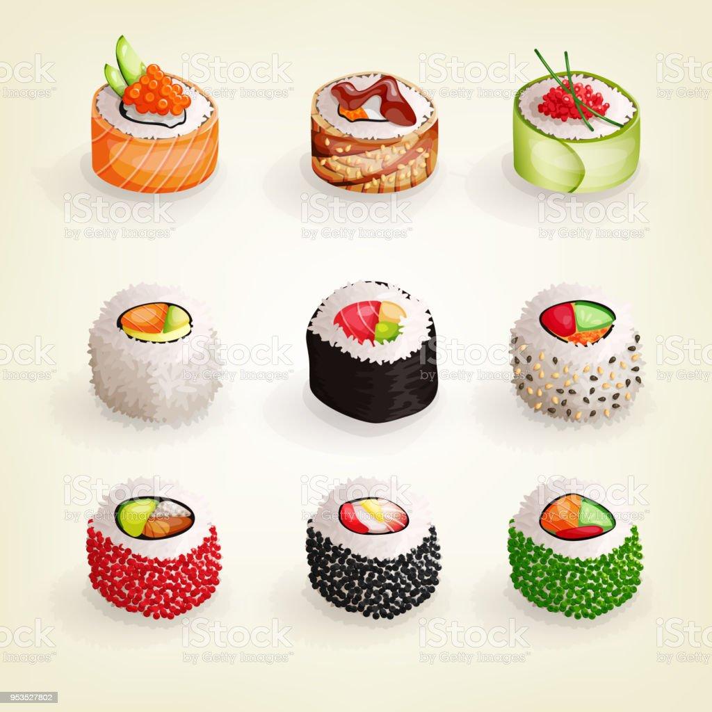 Japanische Küchesammlung Set Von Verschiedenen Frisch Und Lecker ...