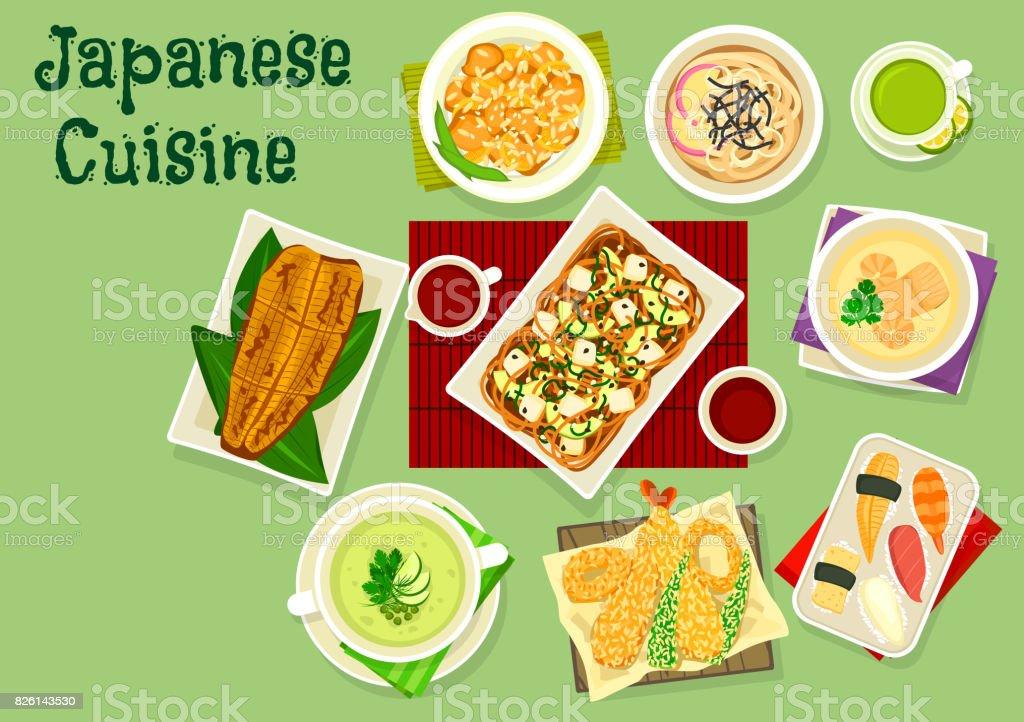 アジア食品デザインの和食料理アイコン ベクターアートイラスト