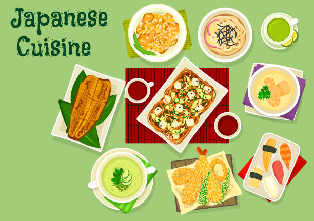 ilustrações de stock, clip art, desenhos animados e ícones de japanese cuisine dishes icon for asian food design - tempura