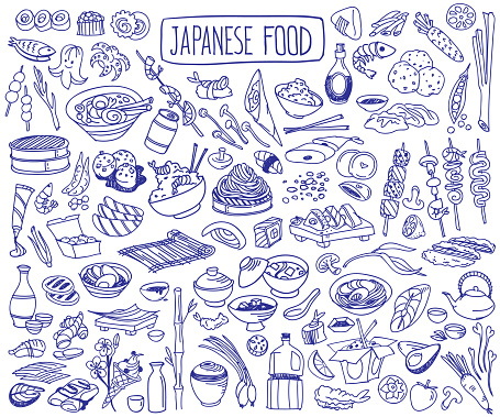 Japanese cuisine doodle set. Traditional food and drinks.
