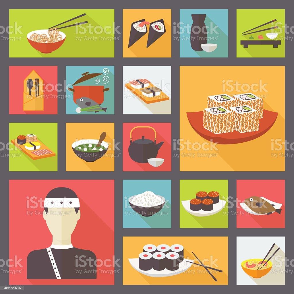 日本の料理、お料理のアイコンを設定します。 ベクターアートイラスト