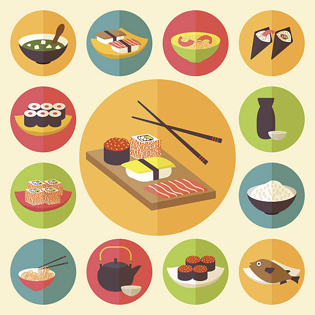 japanese cuisine, food icons set - japanese food stock illustrations