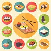Japanese cuisine, food icons set