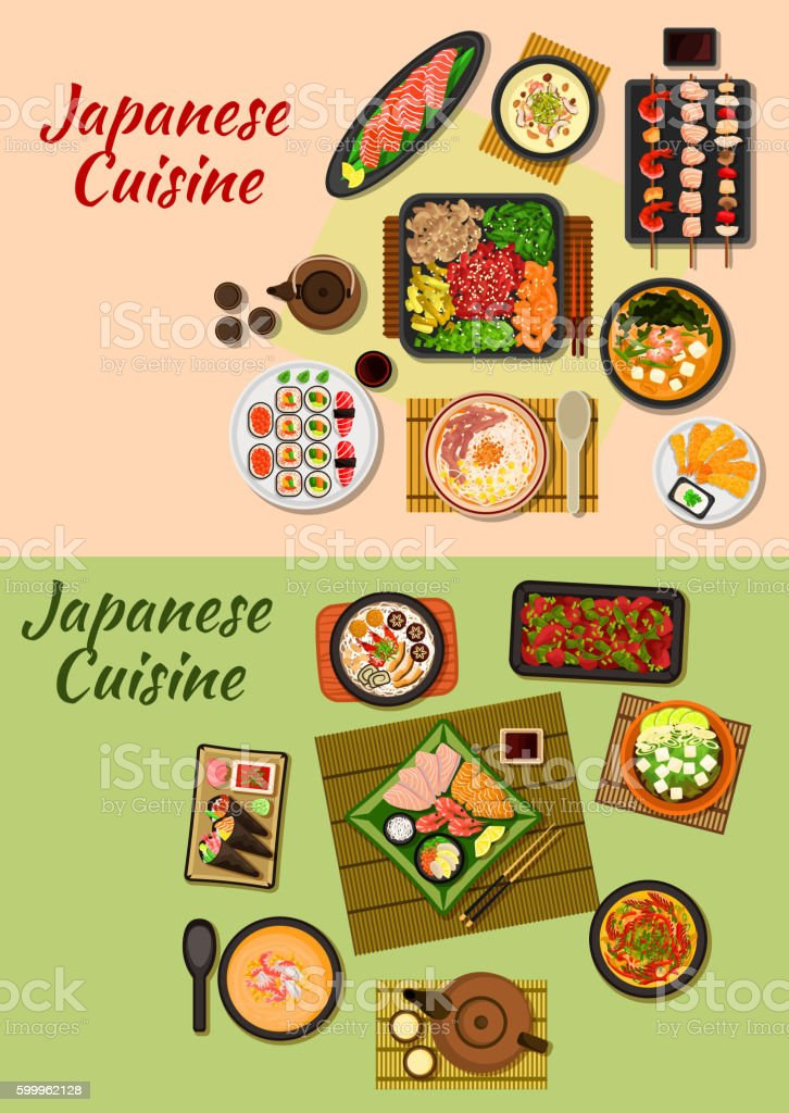 Japanese cuisine seafood dinners icon ベクターアートイラスト
