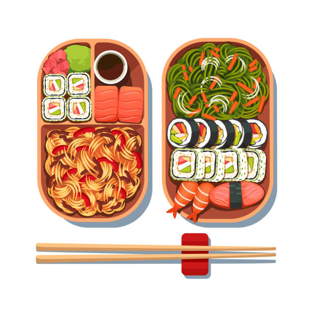 Japanese cuisine set on two plates with chopsticks. Sushi, noodles, seaweed salad. Japanese cuisine set top view. Flat isolated vector vector art illustration