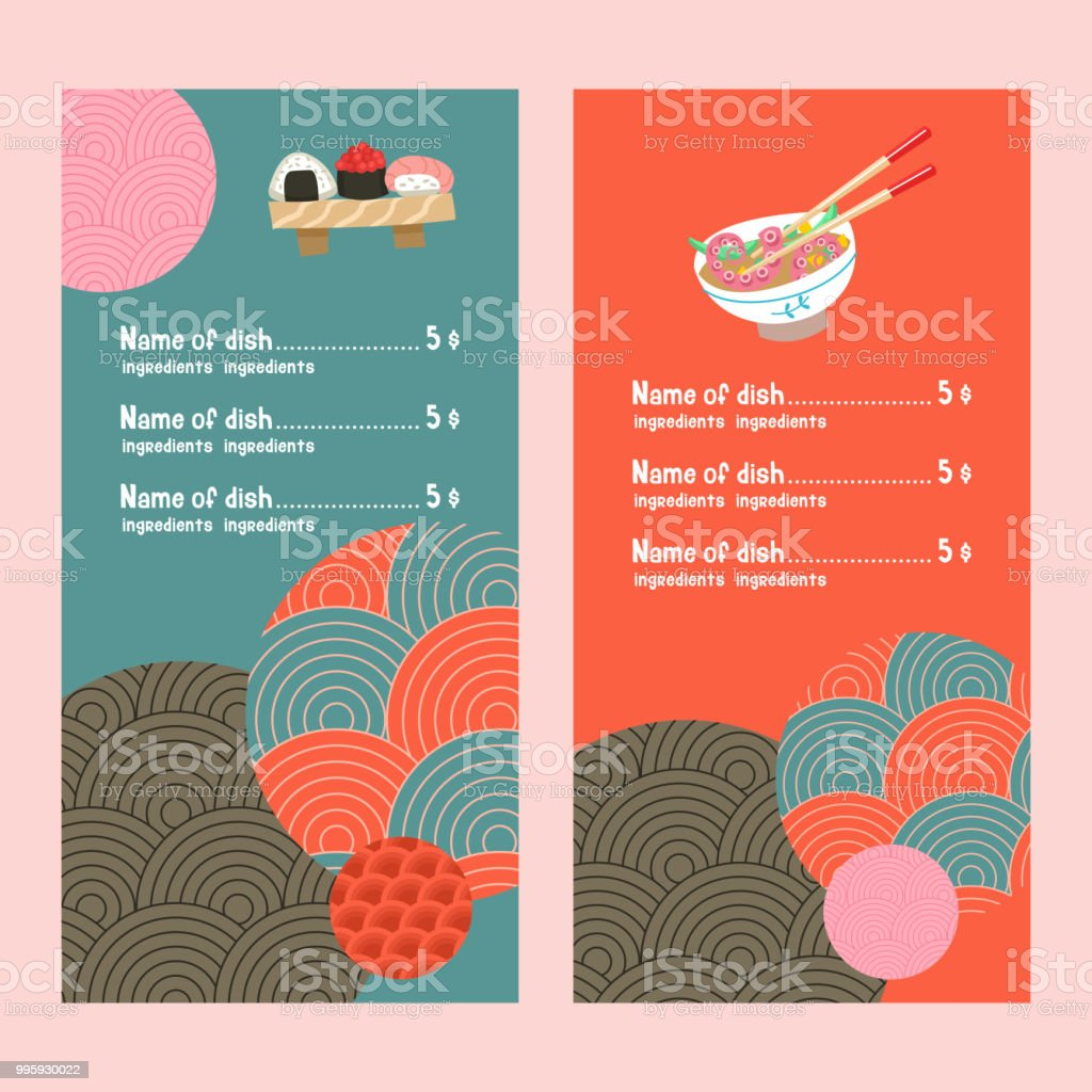 Japanese cuisine. Traditional Japanese dish. Vector illustration in cartoon style.