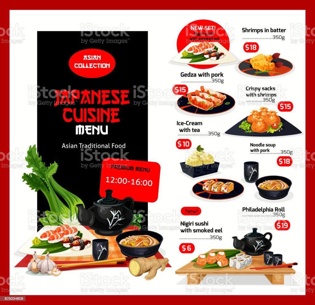 Modèle de cuisine japonaise vecteur menu prix cartes - Illustration vectorielle