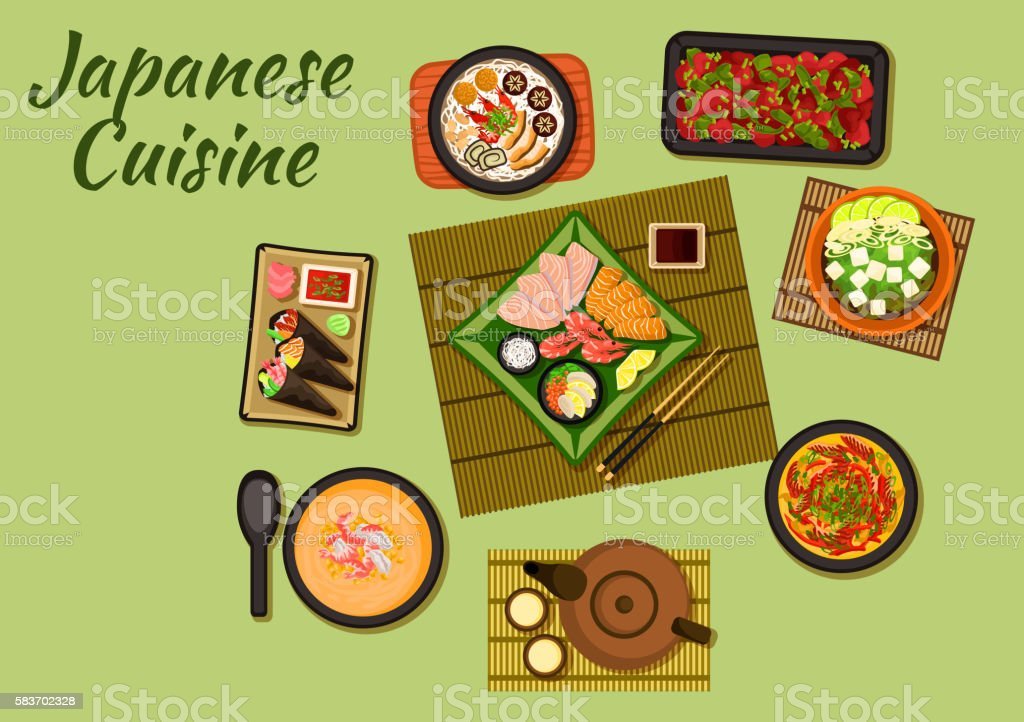 Japanese cuisine with sushi and soups ベクターアートイラスト