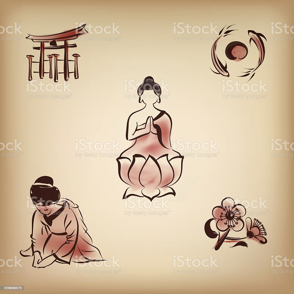 日本文化の絵画のスタイルアイコン、インク ベクターアートイラスト