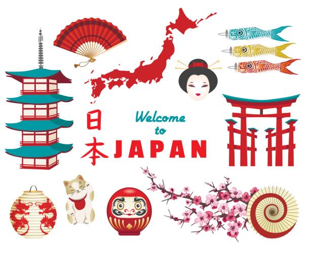 japanese culture icons on white background - tokyo stock illustrations, clip art, cartoons, & icons