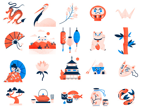 Japanese culture symbols  collection. Asian traditional signs and landmarks isolated set.