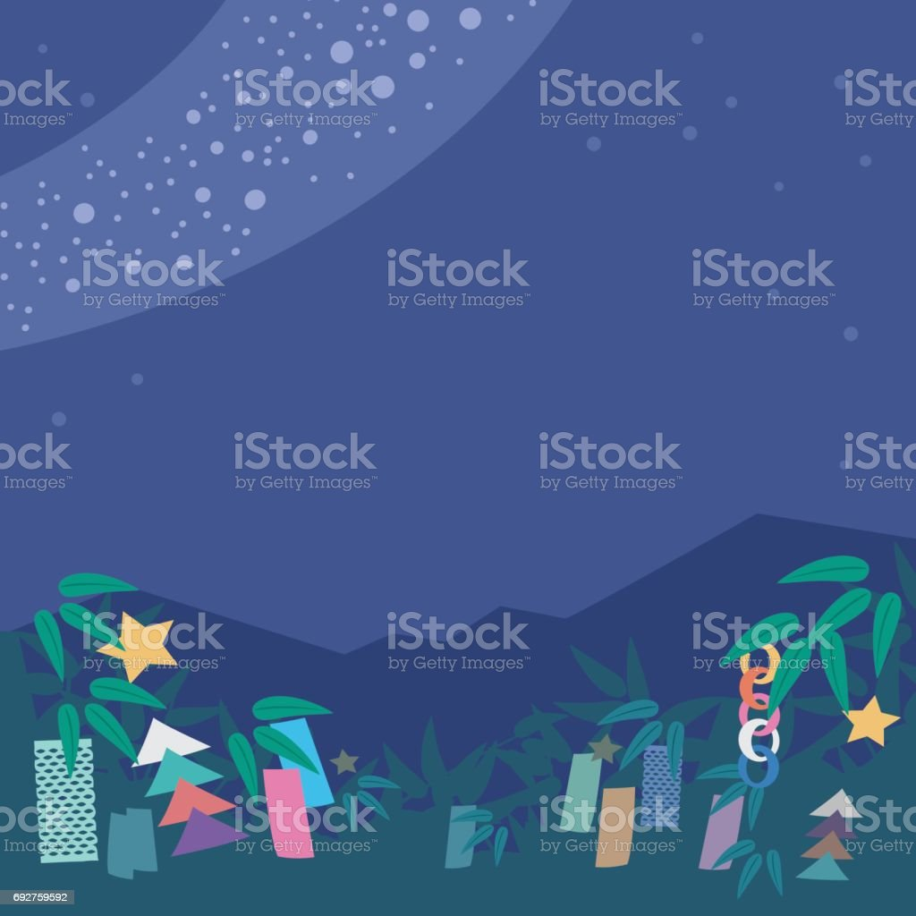 Japanese culture Tanabata background square vector art illustration