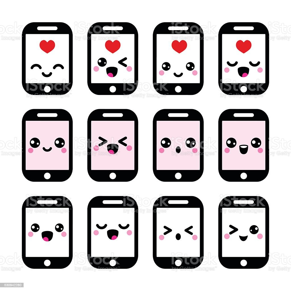 Japanese Cute Kawaii Character Mobile Or Cell Phone Icons Stock