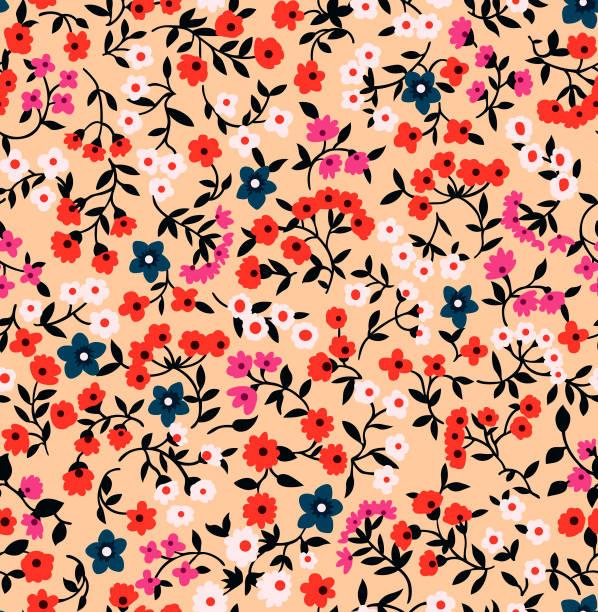 日本のかわいい小さな花シームレスパターン - ボタニカル点のイラスト素材/クリップアート素材/マンガ素材/アイコン素材