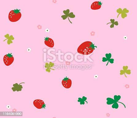 Japanese Cute Strawberry Seamless Pattern