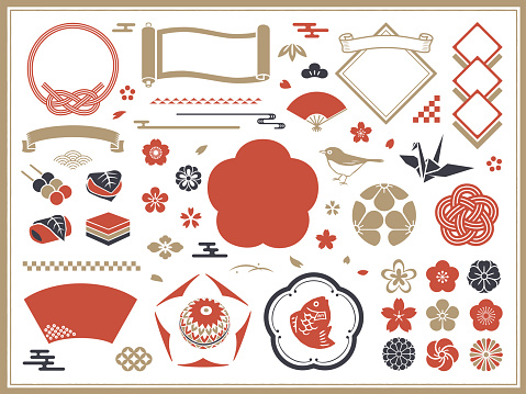 Japanese decorations, frames and icons