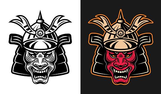 Japanese demon samurai in helmet vector illustration in two styles monochrome on white and colorful on dark background