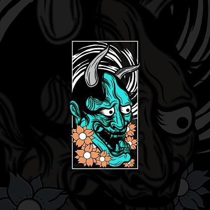 Japanese Demon Tattoo Illustration