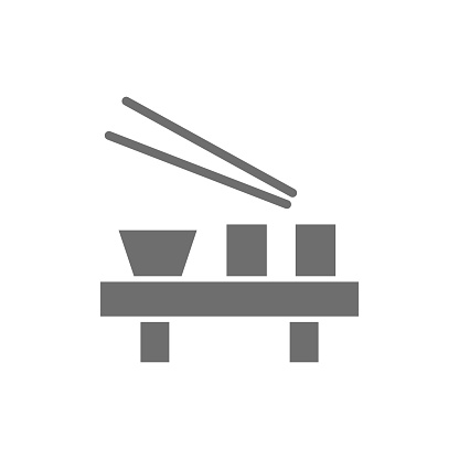 Japanese dishes grey icon. Isolated on white background