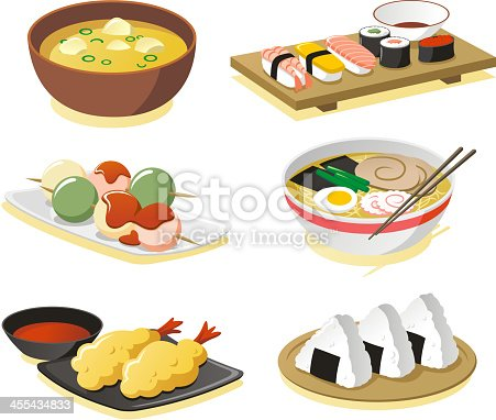 Japanese dishes vector icon set.