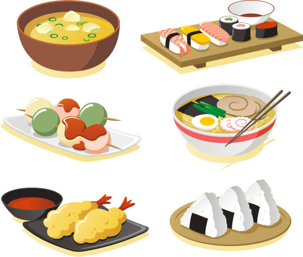 japanese dishes - japanese food stock illustrations