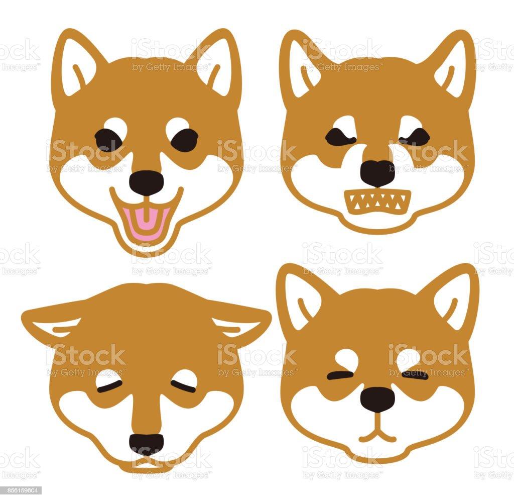 日本の犬見て顔芝犬 イラストレーションのベクターアート素材や画像を