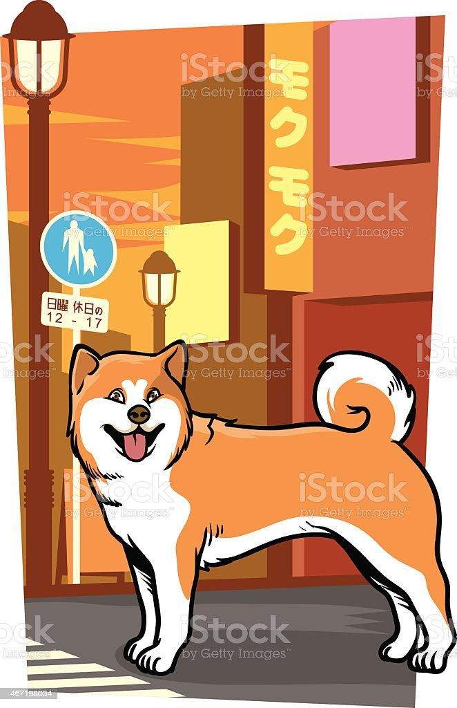 japanese Pies na miasto Ulica – artystyczna grafika wektorowa