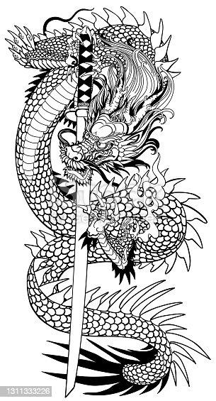 istock Japanese dragon with a katana. Black and white 1311333226