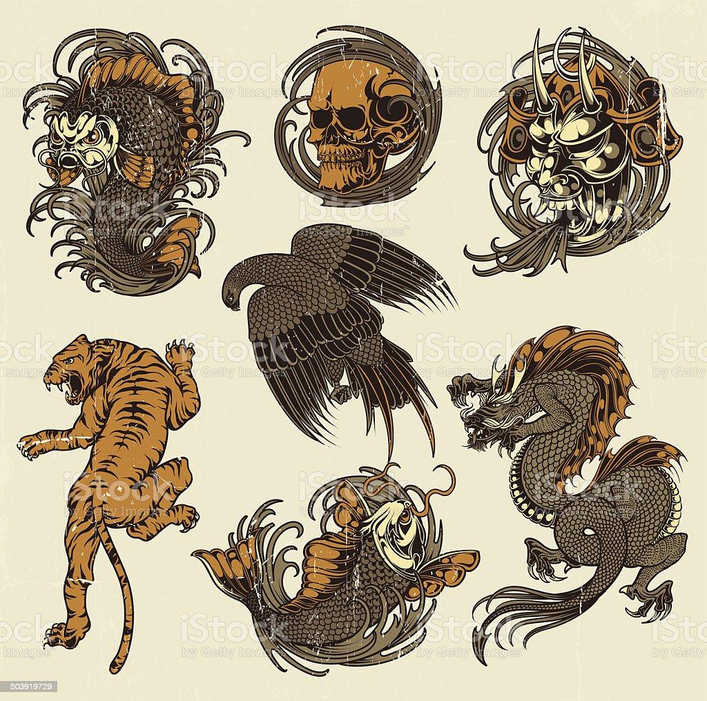 Dibujos japoneses - ilustración de arte vectorial