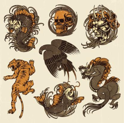 Animal tattoo stock illustrations