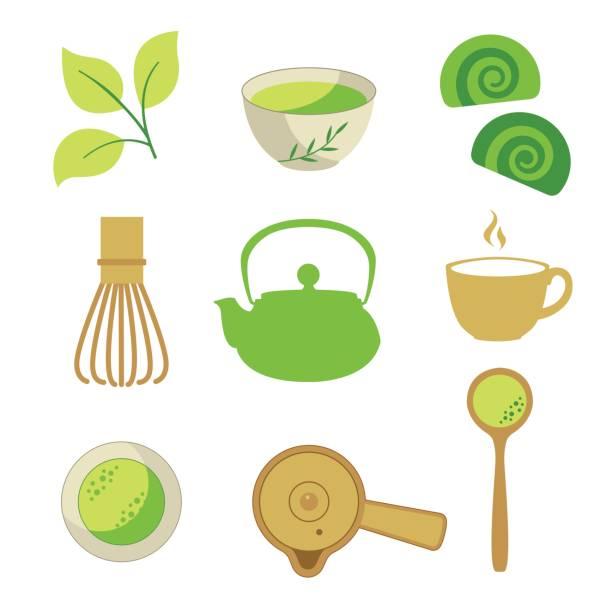 日本の民族や国家お茶会です。抹茶のアイコンを設定します。ティータイムの伝統。あなたの設計の装飾的な要素。白い背景の上党シンボル ベクトル図 - 抹茶点のイラスト素材/クリップアート素材/マンガ素材/アイコン素材