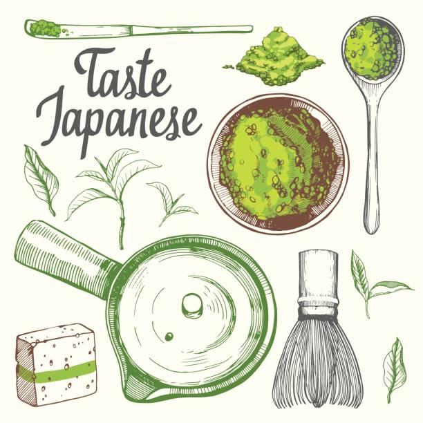 日本の民族や国家お茶会です。抹茶。ティータイムの伝統。あなたの設計の装飾的な要素。白い背景の上党シンボル ベクトル図 - 抹茶点のイラスト素材/クリップアート素材/マンガ素材/アイコン素材
