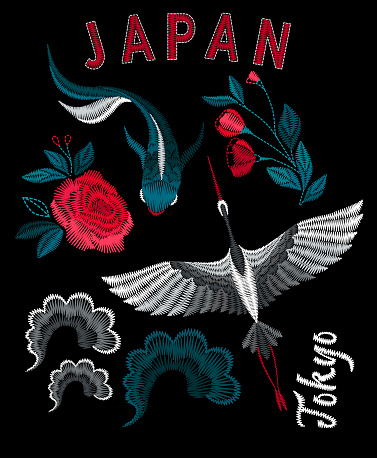 Japanese ethnic koi fish, crane, sea waves and beautiful flowers.  Embroidery for Fashion.