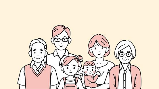 Japanese family illustration