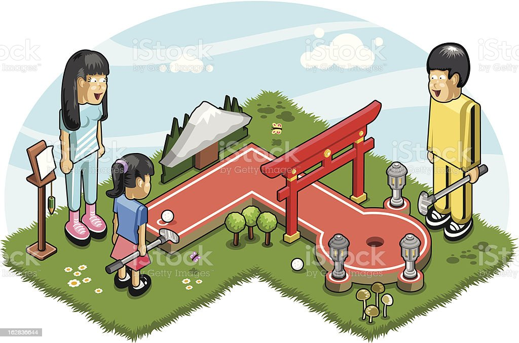 Japanese family playing minigolf - vector vector art illustration