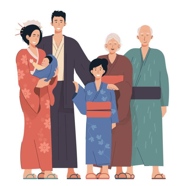 日本の家族の肖像画。祖父母、両親、子供たち。着物を着た日本人 - 家族 日本点のイラスト素材/クリップアート素材/マンガ素材/アイコン素材