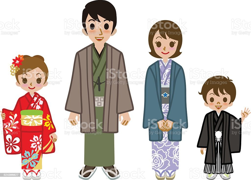 Ilustración de Familia Kimono Japonés De Uso y más banco de imágenes ...