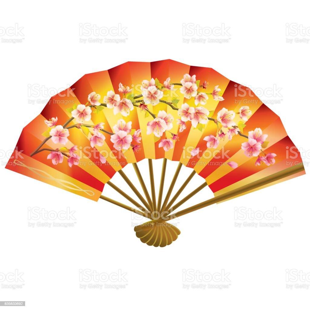 Japanese Fan On White Background Stock Illustration ...