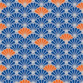 Japanese fan vector seamless pattern in blue and orange color style
