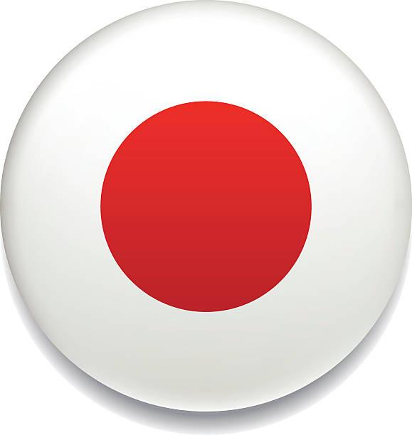 ilustraciones, imágenes clip art, dibujos animados e iconos de stock de bandera japonesa vector botón - bandera japonesa
