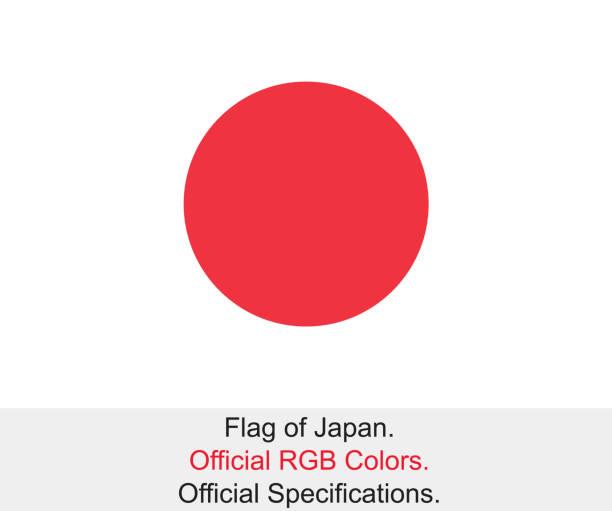 ilustraciones, imágenes clip art, dibujos animados e iconos de stock de bandera japonesa (colores oficiales rgb, especificaciones oficiales) - bandera japonesa