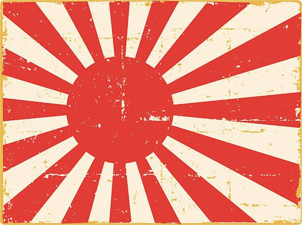 ilustraciones, imágenes clip art, dibujos animados e iconos de stock de wwii bandera japonesa - bandera japonesa