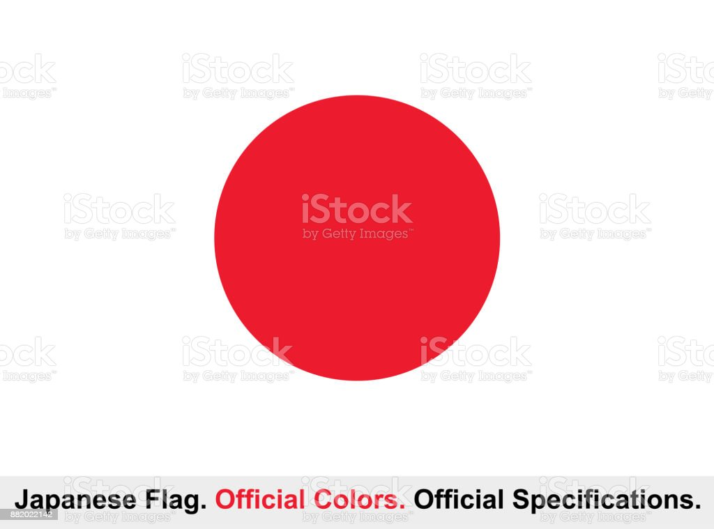 Japanese Flag (Official Colors, Official Specifications) vector art illustration
