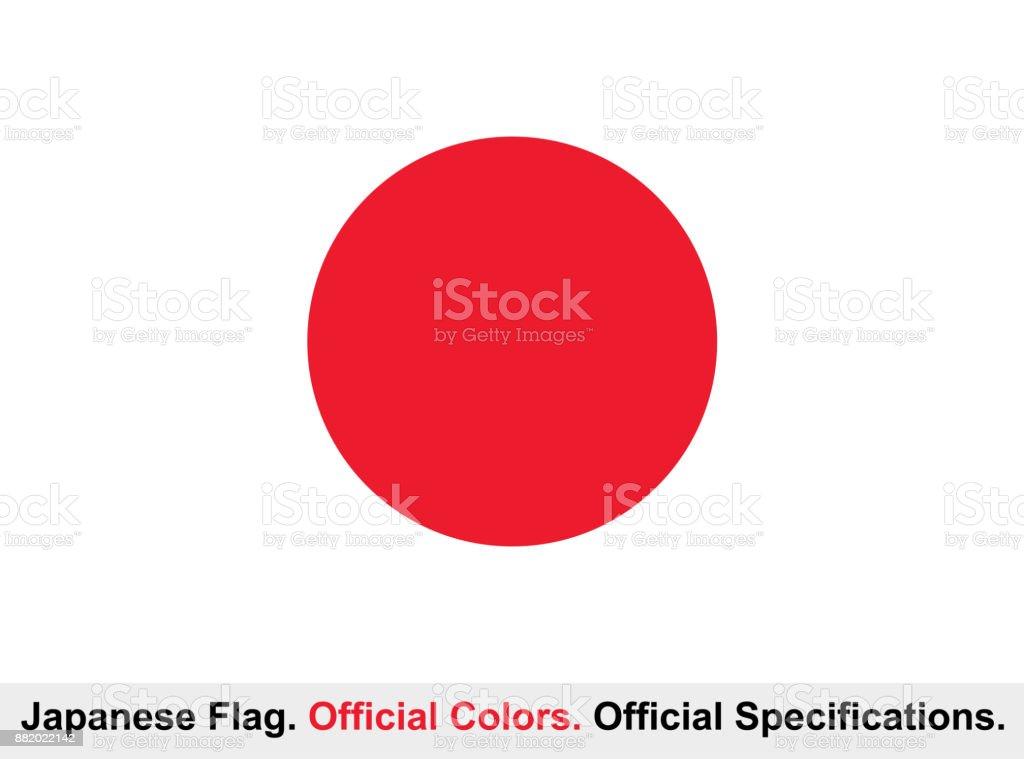 Bandera de Japón (colores oficiales, especificaciones oficiales) - ilustración de arte vectorial