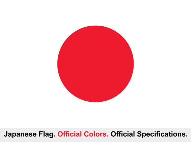 ilustraciones, imágenes clip art, dibujos animados e iconos de stock de bandera de japón (colores oficiales, especificaciones oficiales) - bandera japonesa