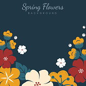 Colorful flowers border background vector