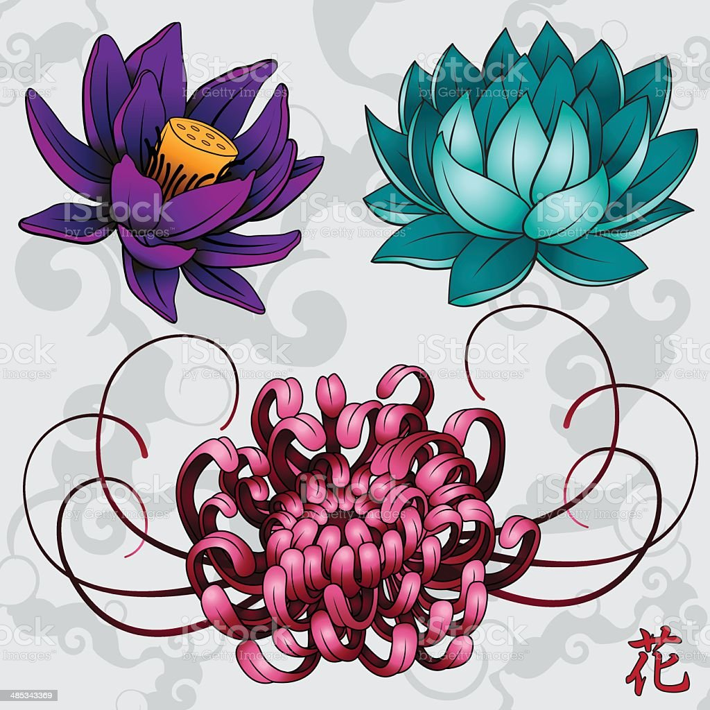 japanese flowers stock vector art more images of asian and indian