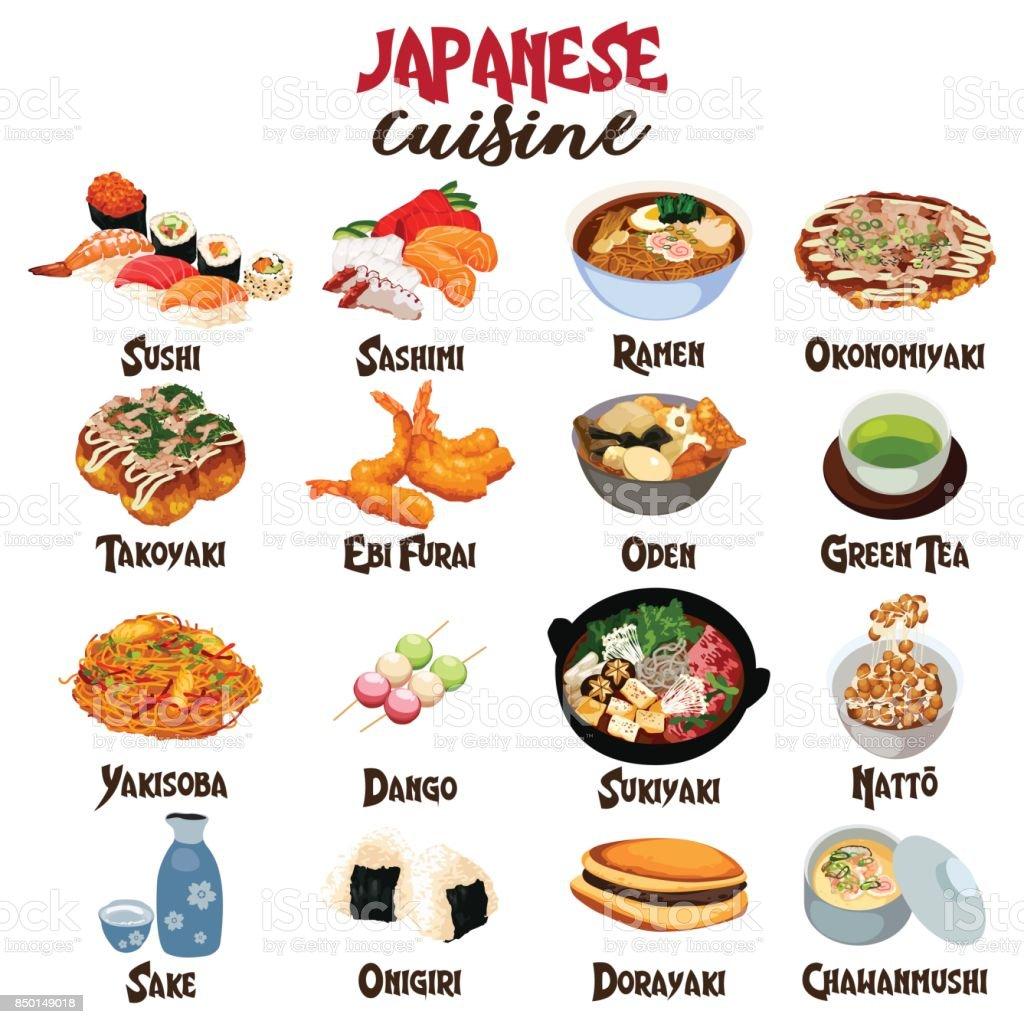 Japanese Food Cuisine vector art illustration
