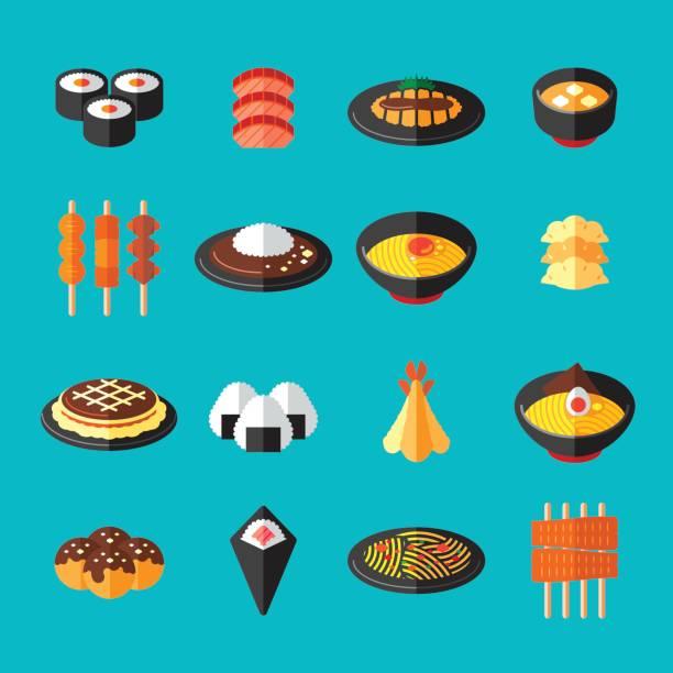 和食フラット アイコン - ラーメン点のイラスト素材/クリップアート素材/マンガ素材/アイコン素材